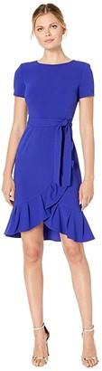 Calvin Klein Short Sleeve Ruffle Hem Dress with Self Tie Belt (Byzantine) Women's Dress
