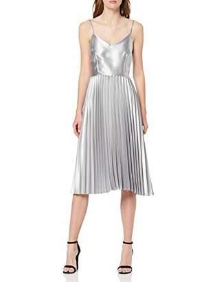 Dorothy Perkins Women's Sleeveless Pleated WRAP Bodice Satin Dress Party,8 (Size:8)