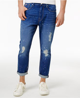 GUESS Men's Tapered Crop Slim Fit Ripped Jeans