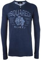 DSQUARED2 floral logo henley - men - Cotton/Viscose - S