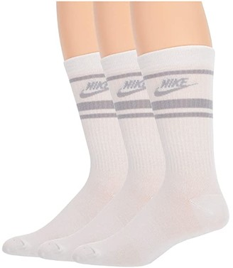 Nike Crew Essential Stripe 3-Pack (White/Black/Black) Crew Cut Socks Shoes