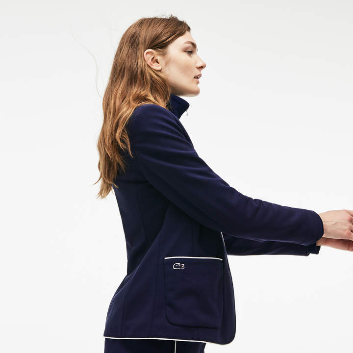 Lacoste Women's Piped Cotton Crepe Interlock Blazer
