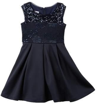 Iris & Ivy Cap Sleeve Sequin Scuba Dress (Big Girls)