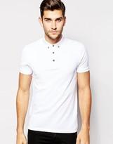 Asos Polo Shirt In White Pique With Button Down Collar