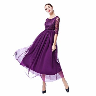 IWEMEK Women's Vintage Elegant 2/3 Sleeves Floral Lace Tulle Evening Cocktail Prom Ball Gown Long Maxi Wedding Bridesmaid Party Dress Purple L/UK 14