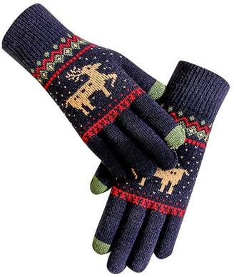 Skag Skang Fleece Mitten Knit Crochet Gloves Christmas Elk Print Warm Fashion Winter Gloves Windproof Outdoor Gloves for Ladies