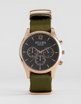 Reclaimed Vintage Chronograph Canvas Watch In Olive