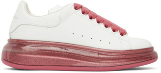 Alexander McQueen White and Pink Glitter Oversized Sneakers