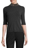Milly Half-Sleeve Gem-Collar Pullover, Gray