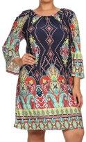 2LUV Plus 2LUV Women's3/4 Sleeve Mix Print A-Line Shift Dress XL (D982 PRT BO2-X)