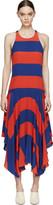 Stella McCartney Red & Blue Silk Rugby Stripes Dress