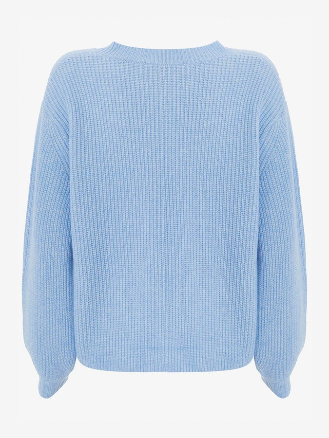Mint Velvet V-Neck Fluffy Jumper - Blue