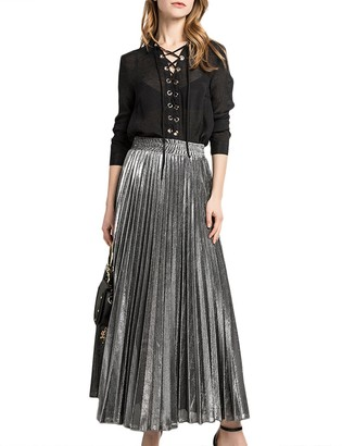 HAHAEMMA Women Pleated Skirt Maxi Skirt Dresses Long Skirt Pleated Skirt Pleated Maxi High Elastic Waist A-Line Pleated Long(GO