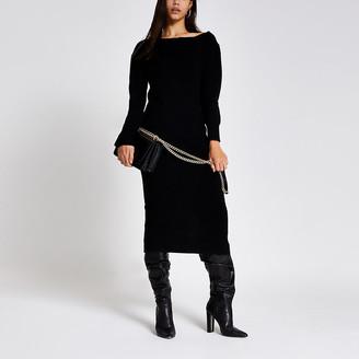 River Island Black asymmetric zip neck knitted midi dress