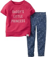 "Carter's Girls ""Daddy Little Princess"" 2-Piece Top & Legging Set Pink"