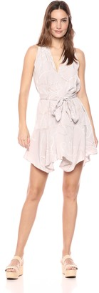 Halston Women's Sleeveless V Neck Printed Dress with Sash
