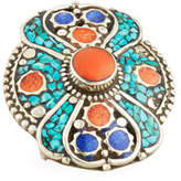Devon Leigh Turquoise, Coral & Lapis Statement Ring