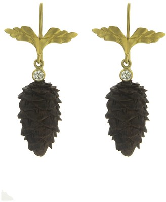 Cathy Waterman 22K Gold Wings and Oregon Black Walnut Pinecone Drop Earrings