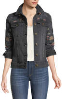Driftwood Geena Embroidered Denim Jacket, Black