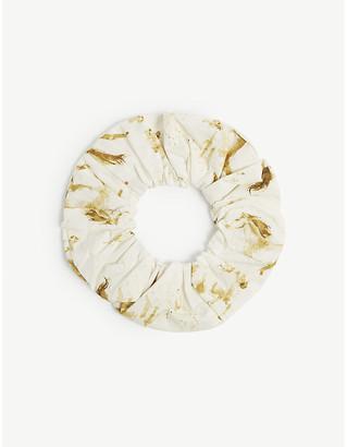 Ganni Watercolour horse-print cotton hair scrunchie