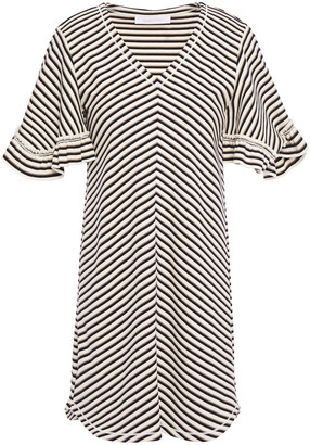 See by Chloe Ruffle-trimmed Striped Cotton Mini Dress