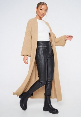 Missguided Tall Camel Batwing Maxi Knit Cardigan