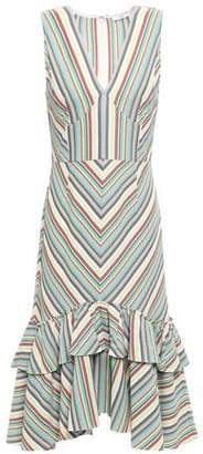Tome Tiered Striped Cotton-pique Dress
