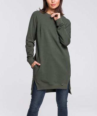 BeWear Women's Sweatshirts and Hoodies mil.green - Military Green Split-Hem Hi-Low Sweatshirt - Women