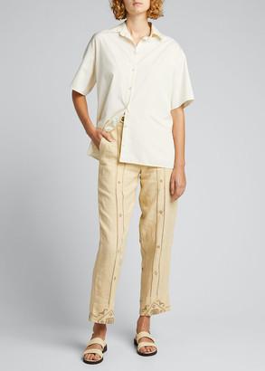 Bode Emblem Ladder-Stitch Side-Tie Linen Trousers