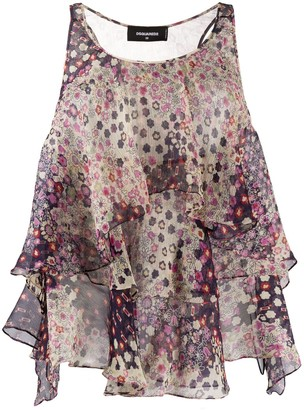 DSQUARED2 Floral Ruffled Blouse