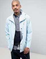 Rains Short Hooded Jacket Waterproof in Light Blue