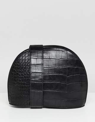 Asos Design DESIGN large croc half moon cross body bag-Black
