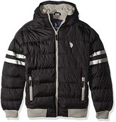 U.S. Polo Assn. Men's Hooded Bomber with Sleeve Stripes