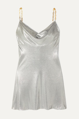 Versace Embellished Satin Mini Dress - Silver