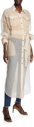 Brunello Cucinelli Crispy Silk Chiffon Tunic Shirt