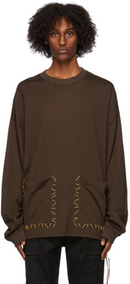 Mastermind Japan Brown Boxy Hand Stitched Long Sleeve T-Shirt