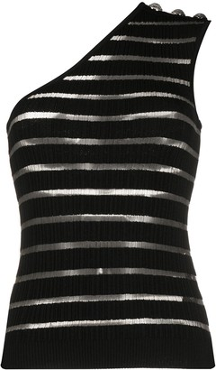Balmain Striped One-Shoulder Top