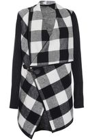 Quiz Black Check Fleece Cardigan