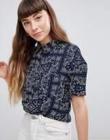 Daisy Street Relaxed Shirt In Bandana Print