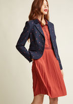 Give your workwear wardrobe the promotion it so deeply deserves by adding this navy blazer into the mix! A polished and playful piece from our ModCloth namesake label, this cool layer combines a corduroy collar and matching pocket flaps with chipper red d