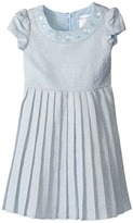 Us Angels Short Sleeve Brocade Dress w/ Pleats (Toddler/Little Kids)