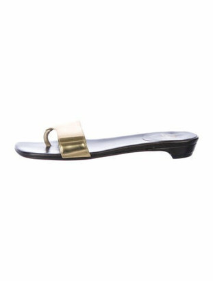 Christian Louboutin Hampton Patent Leather Slides Gold