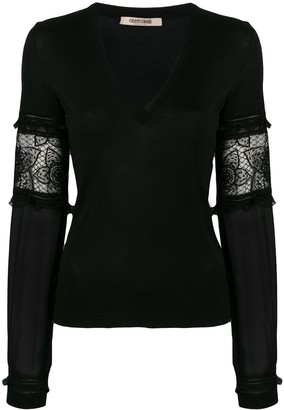 Roberto Cavalli Sheer Sleeves Pullover