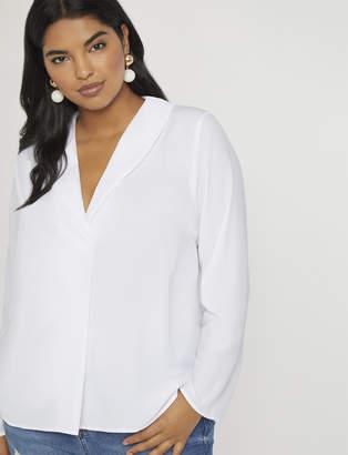 Long Sleeve Shawl Collar Blouse