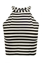Select Fashion Fashion Womens Grey Wide Stripe Halter Crop - size 12