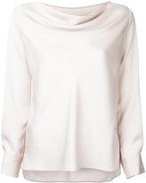 ESTNATION draped neck longsleeved blouse - women - Polyester/Triacetate - 36