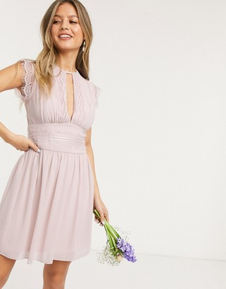 TFNC bridesmaid lace detail mini bridesmaid dress in pink