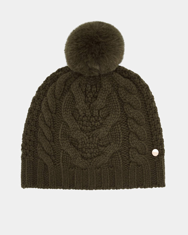 f54e08d605e88 QUIRSA Cable knit wool blend pom pom hat