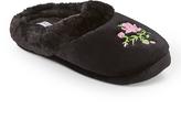 Ellen Tracy Black & Pink Embroidered Flower Slipper - Women
