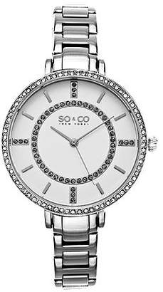 So & Co SO & CO Ny Women's Soho Stainless Steel Thin Bracelet Crystal Filled Bezel Dress Quartz Watch J155P41 Family